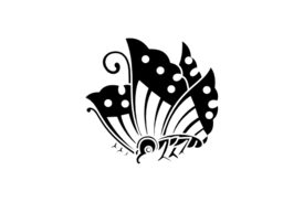 Cultural Illustrations Japanese Family Crest - Swallowtail 03 Artwork
