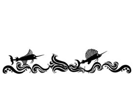 Seashells, Fish, and Beach Wavy Swordfish Artwork