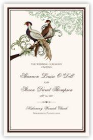 Asian Peace Birds Birds and Butterflies Wedding Programs