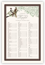 Asian Peace Birds Bird Theme Wedding Seating Chart