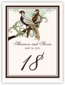 Asian Peace Birds Birds and Butterflies Table Numbers