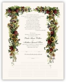 Burgundy Roses and Sunflowers Flower Wedding Certificates