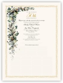 Calla Lilies and Gardenias Anniversary Certificates