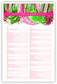 Fushia & Celadon Colorful Abstraction Contemporary and Classic Wedding Seating Charts