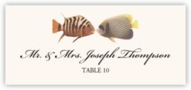 Kissing Fish Beach, Seashell, and Fish Place Cards