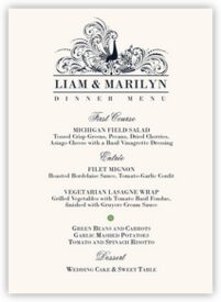 Pompous Peacock Birds and Butterflies Wedding Menus
