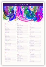 Royal Blue & Purple Colorful Abstraction Contemporary and Classic Wedding Seating Charts