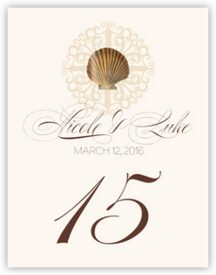 Seashell Flourish 01 Beach and Seashell Table Numbers