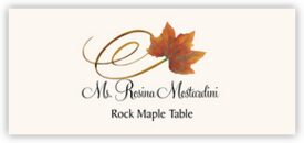 Rock Maple Swirly Leaf Autumn/Fall Leaves Place Cards
