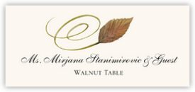 Walnut Swirly Leaf Autumn/Fall Leaves Place Cards