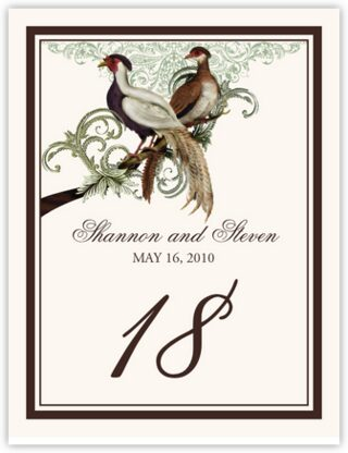Asian Peace Birds Table Numbers