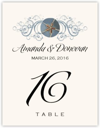Blue Sand Dollar Table Numbers