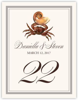 Crab Shell Table Numbers