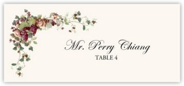 Grapes and Peach Roses Place Cards
