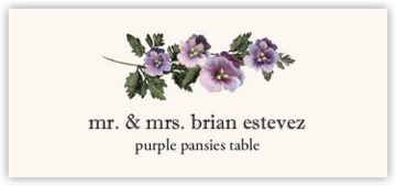 Purple Pansies Place Cards