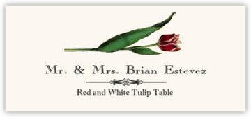 Red and White Tulip Place Cards