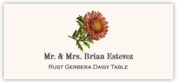 Rust Gerbera Daisy Place Cards