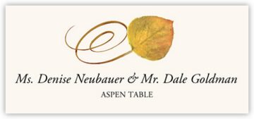 Aspen Swirly Leaf Place Cards