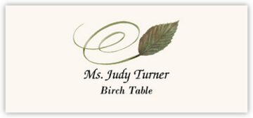 Birch Swirly Leaf Place Cards