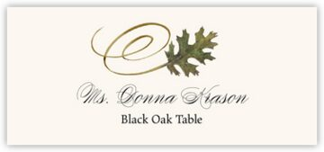 Black Oak Swirly Leaf Place Cards