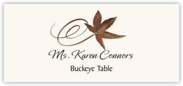 Buckeye Swirly Leaf Place Cards