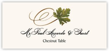 Chestnut Swirly Leaf Place Cards