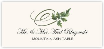 Mountain Ash Swirly Leaf Place Cards