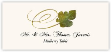 Mulberry Swirly Leaf Place Cards