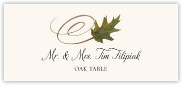 Oak Swirly Leaf Place Cards