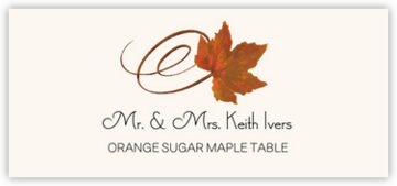 Orange Sugar Maple Swirly Leaf Place Cards