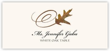 White Oak Swirly Leaf Place Cards