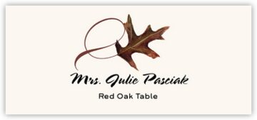 Red Oak Twisty Leaf Place Cards