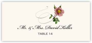Wild Pink Rose Swirl Place Cards