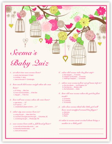 Bird Cages Baby Shower Quiz Donation Cards