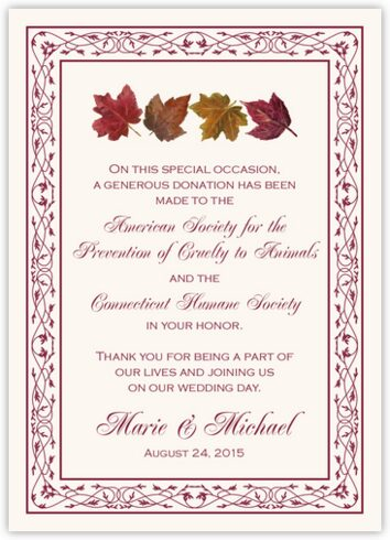 Maple Leaf Pattern Donation Cards