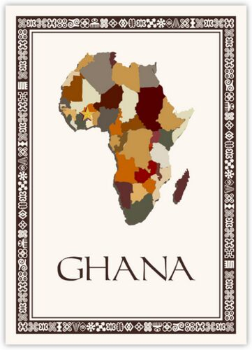 African Map Table Name with Adinkra Border Table Names