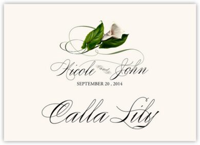 Calla Lily Swirl Table Names