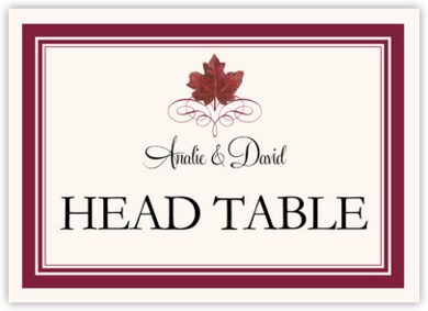 Red Maple Leaf Heart Table Names