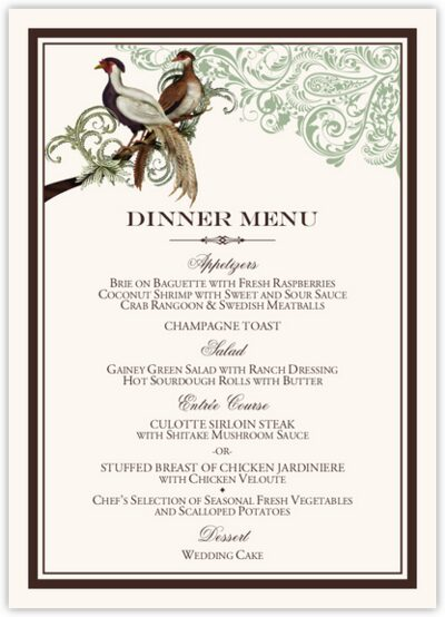 Asian Peace Birds Wedding Menus