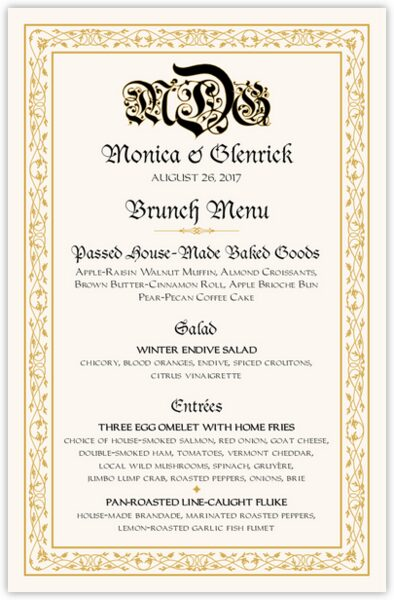 Blackletter Gothic Wedding Menus
