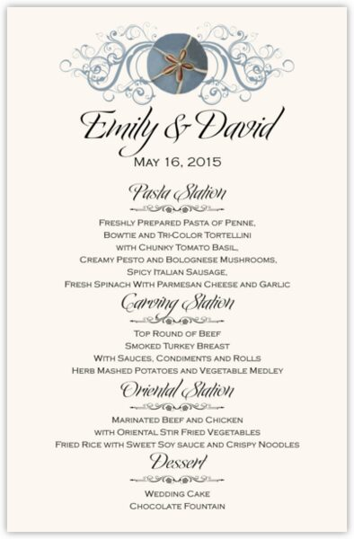 Blue Sand Dollar Wedding Menus
