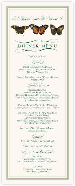 Butterfly Ballet Wedding Menus