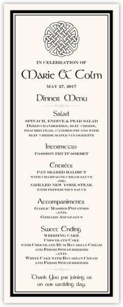 Celtic Knot 01 Wedding Menus