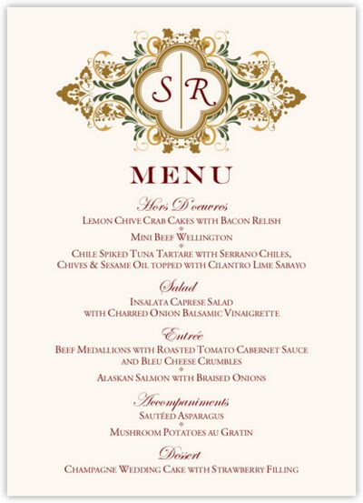 Eden Wedding Menus