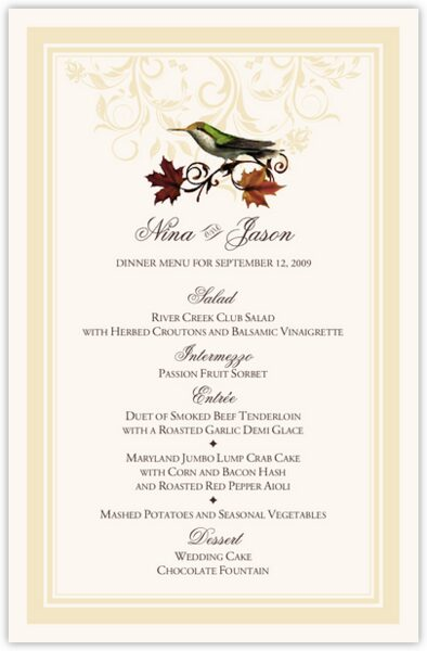 Fall Indy Flourish Wedding Menus