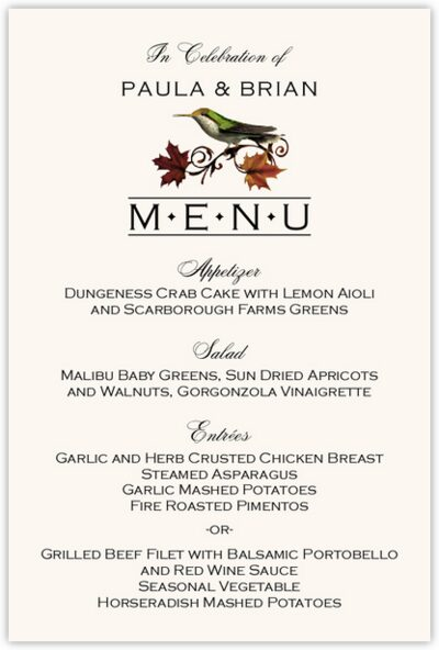 fall indy wedding menu cards and rehearsal dinner menus with birds and autumn leaves documents. Black Bedroom Furniture Sets. Home Design Ideas