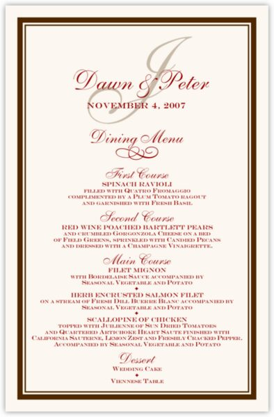 Bracha Wedding Menus