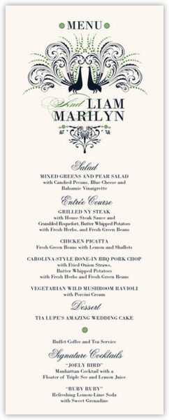 Passionate Peacock Wedding Menus