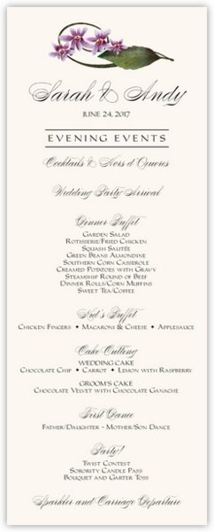 Purple Calypso Orchid Wedding Menus