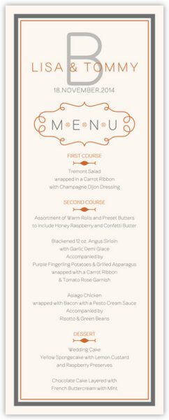 Brownstone Monogram 15 Wedding Menus